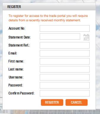 Registration form view
